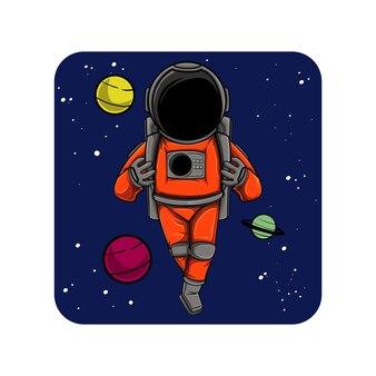 Ilustração de astronauta orando no espaço
