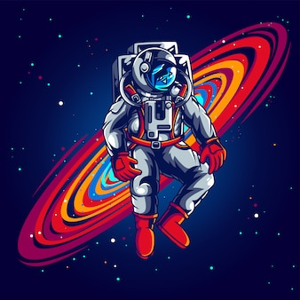 Ilustração de astronauta perdida no espaço