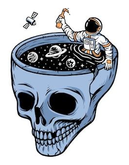 Ilustração de astronautas na piscina do crânio