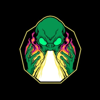 Ilustração de ataque a laser de atirar alienígena