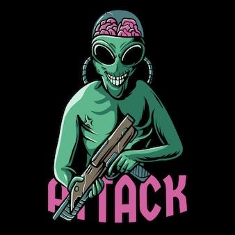 Ilustração de ataque alienígena