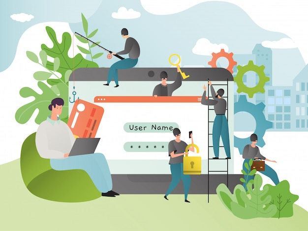 Ilustração de ataque de hacker. conceito de hackers e phishing. pessoas na máscara invadiram o computador. crime cibernético e fraude de segurança de dados.