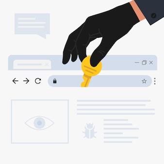 Ilustração de ataque de hacker de internet e conceito de segurança de dados pessoais. mão de hacker rouba senhas de computador. conceito de phishing na internet e crime na internet