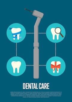 Ilustração de atendimento odontológico com broca de dentista