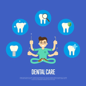Ilustração de atendimento odontológico com dentista masculino