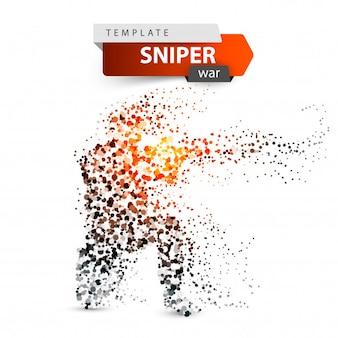 Ilustração de atirador de pontos. militar dispara um rifle.