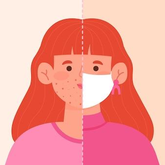 Ilustração de ativação e desativação da máscara facial