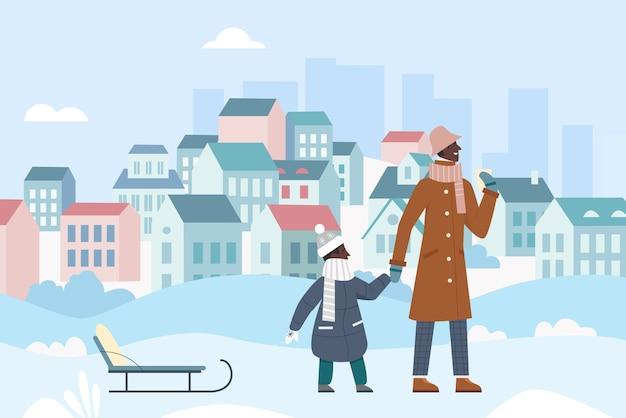 Ilustração de atividade de caminhada de inverno em família.