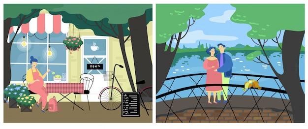 Ilustração de atividade de mulher grávida, personagem de mãe expectante plana dos desenhos animados come comida sobremesa no café, casal feliz caminham juntos