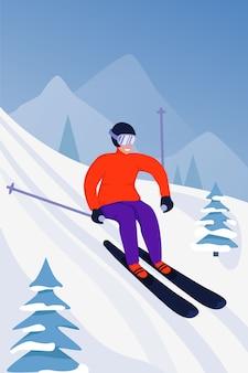Ilustração de atividade esportiva com esquiador.
