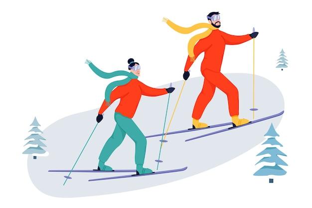 Ilustração de atividade esportiva com esquiadores.
