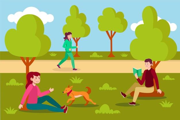 Ilustração de atividades ao ar livre