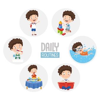 Ilustração de atividades de rotina diária de criança