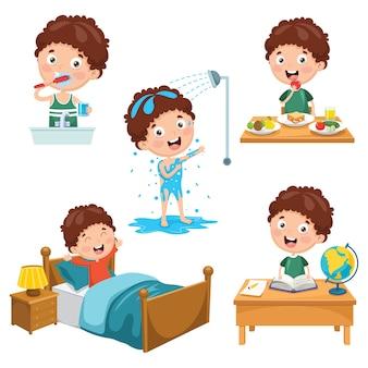 Ilustração de atividades de rotina diária de crianças