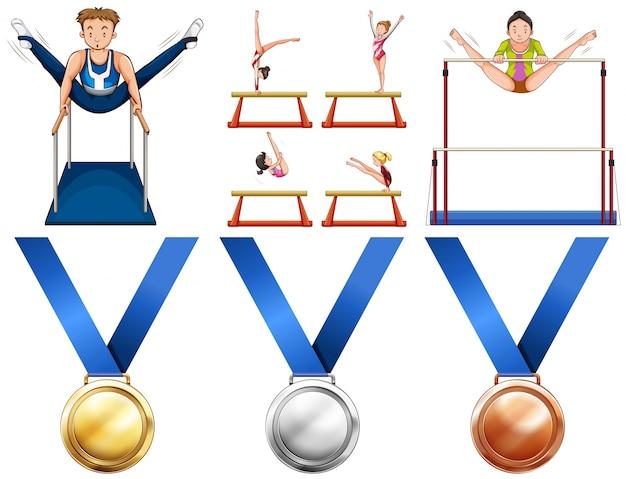 Ilustração de atletas de ginástica e medalhas de esportes