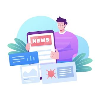 Ilustração de atualização de notícias do coronavirus