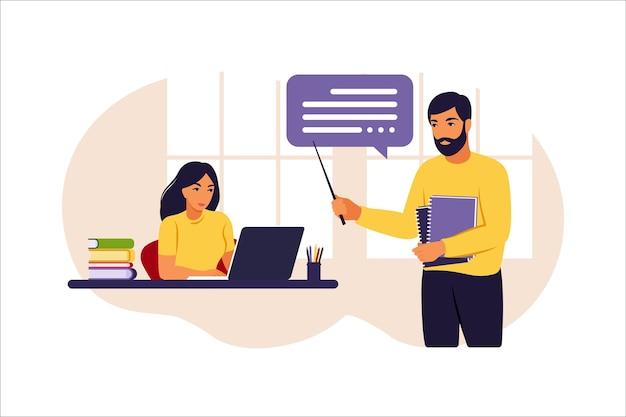 Ilustração de aula de educação online