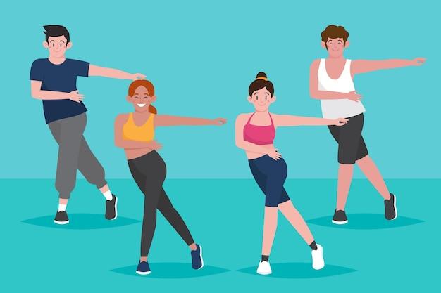 Ilustração de aula de fitness de dança desenhada à mão plana com pessoas