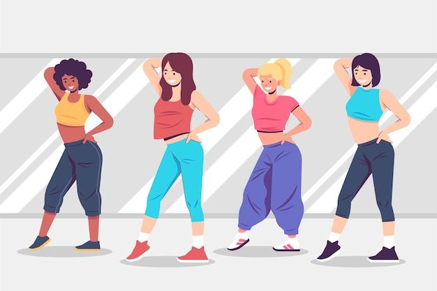 Ilustração de aula de fitness de dança desenhada à mão plana