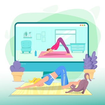 Ilustração de aula de ioga on-line