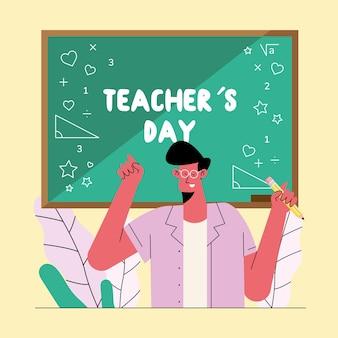 Ilustração de aula de professor masculino