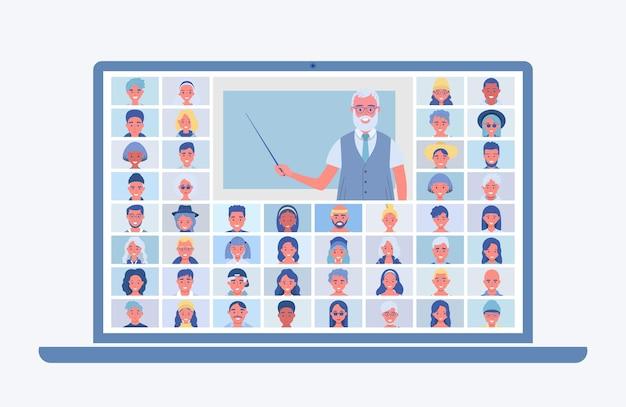 Ilustração de aula online