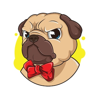 Ilustração de avatar bonito pug