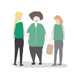 Ilustração de avatar humano com meio ambiente