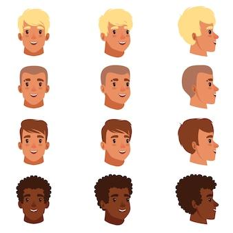 Ilustração de avatares de cabeças masculinas com diferentes cortes de cabelo