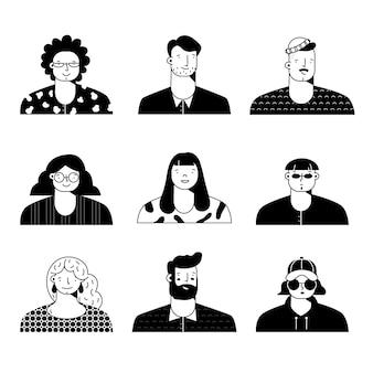 Ilustração de avatares de pessoas
