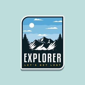 Ilustração de aventura ao ar livre para design de crachá ou camiseta