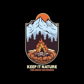 Ilustração de aventura com fogueira na vida selvagem