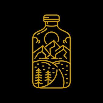 Ilustração de aventura de garrafa