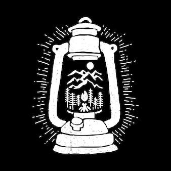 Ilustração de aventura de lanterna noite montanha