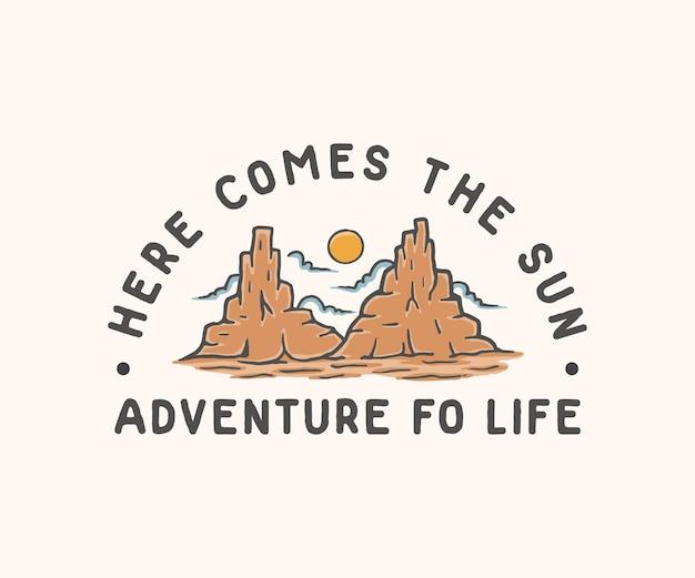 Ilustração de aventura de sobremesa de montanha