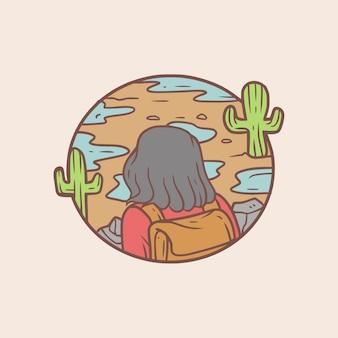 Ilustração de aventura no deserto