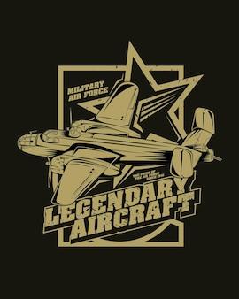 Ilustração de avião de caça clássico, aeronave lendária