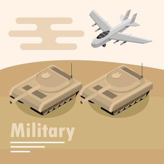 Ilustração de avião e tanque blindado de transporte militar