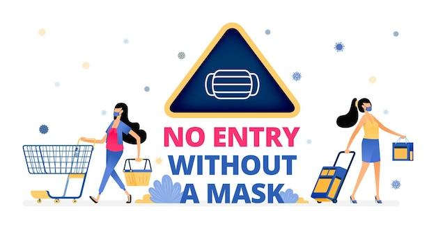 Ilustração de aviso de não entrada sem máscara