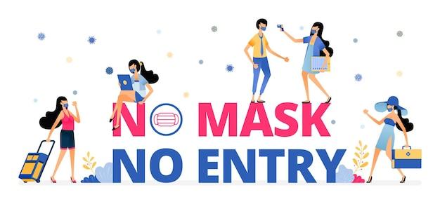 Ilustração de aviso de sem máscara, sem entrada