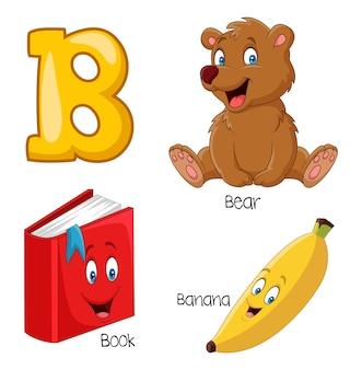 Ilustração, de, b, alfabeto