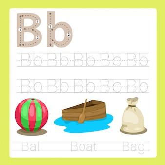 Ilustração de b exercício vocabulário de desenhos animados az