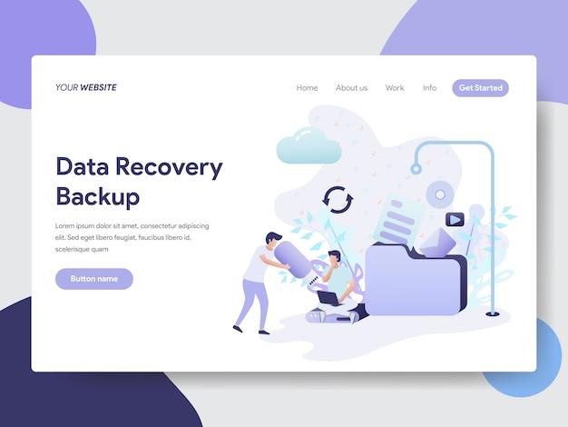 Ilustração de backup de recuperação de dados para a página do site