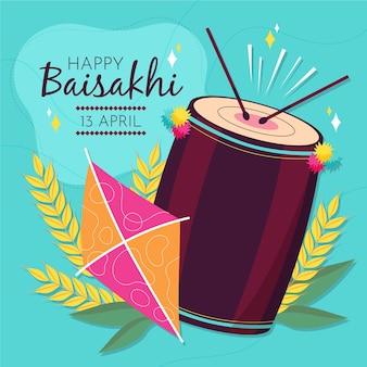 Ilustração de baisakhi feliz desenhada à mão