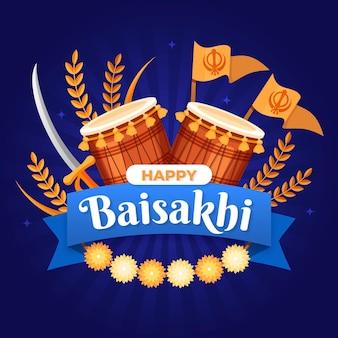Ilustração de baisakhi plana