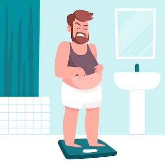 Ilustração de baixa autoestima com homem e escala