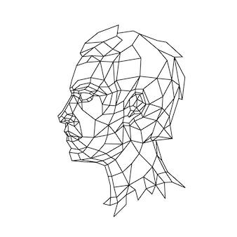 Ilustração de baixo poli da cabeça de um homem no perfil desenho de contorno