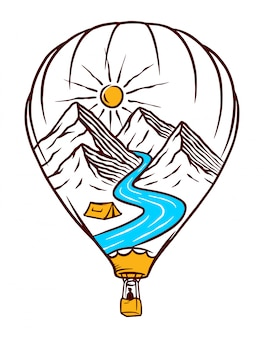 Ilustração de balão de ar quente da natureza