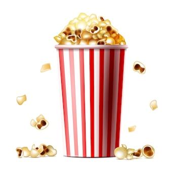 Ilustração de balde de pipoca de copo listrado realista 3d com lanche de pipoca doce ou salgado