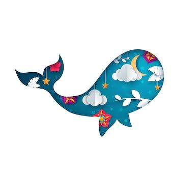 Ilustração de baleia de papel. paisagem de origami dos desenhos animados.